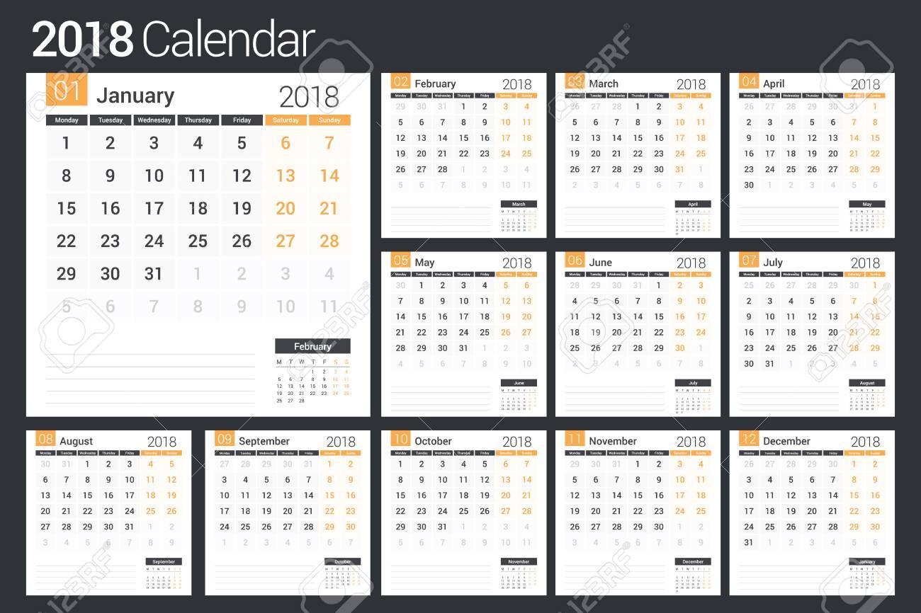 Plantilla De Calendario 2018, Planificador, 12 Páginas, Ilustración ...