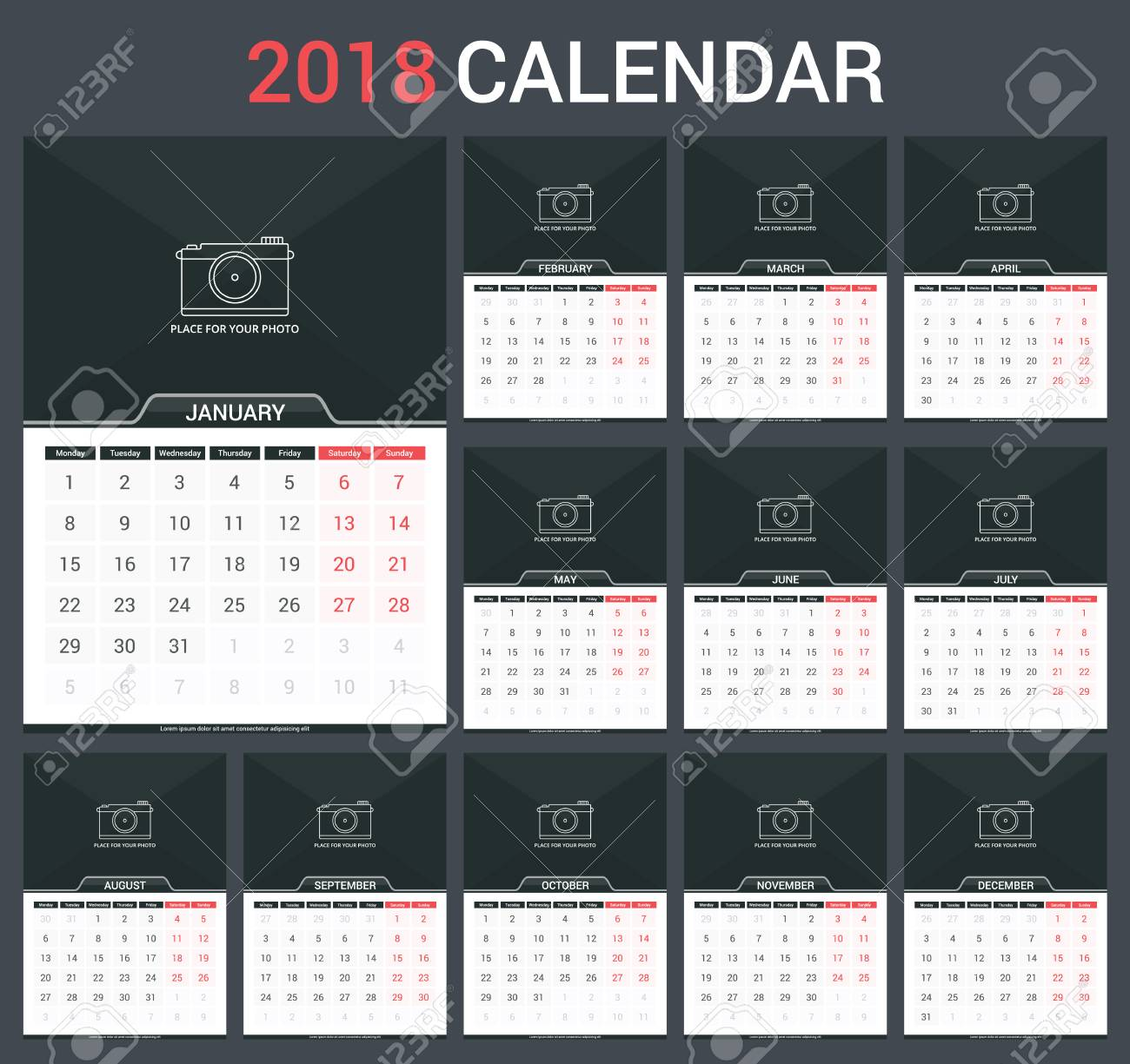 picture about Calendar Template for Pages identified as 2018 Calendar template, 12 internet pages, vector eps10 instance