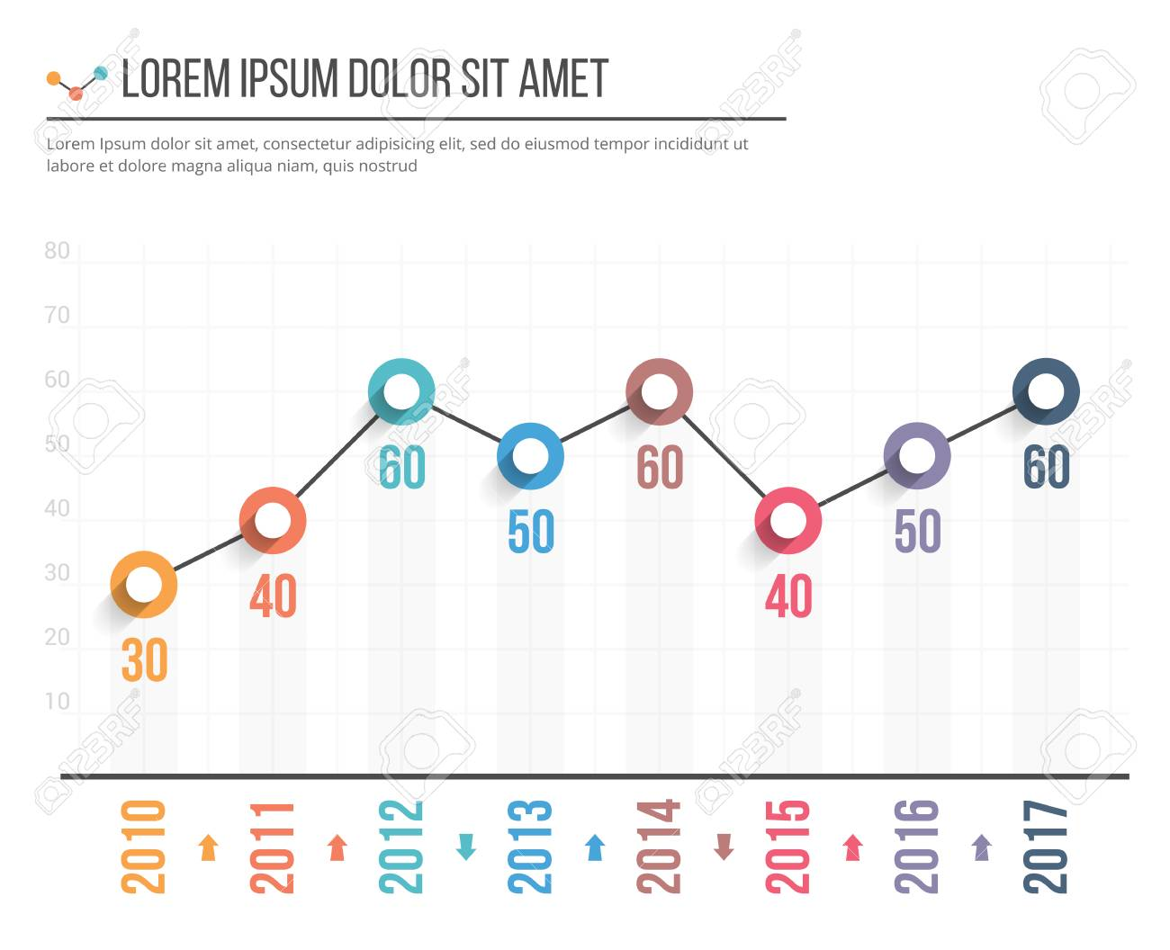 Line Graph Template Business Infographics Royalty Free Cliparts