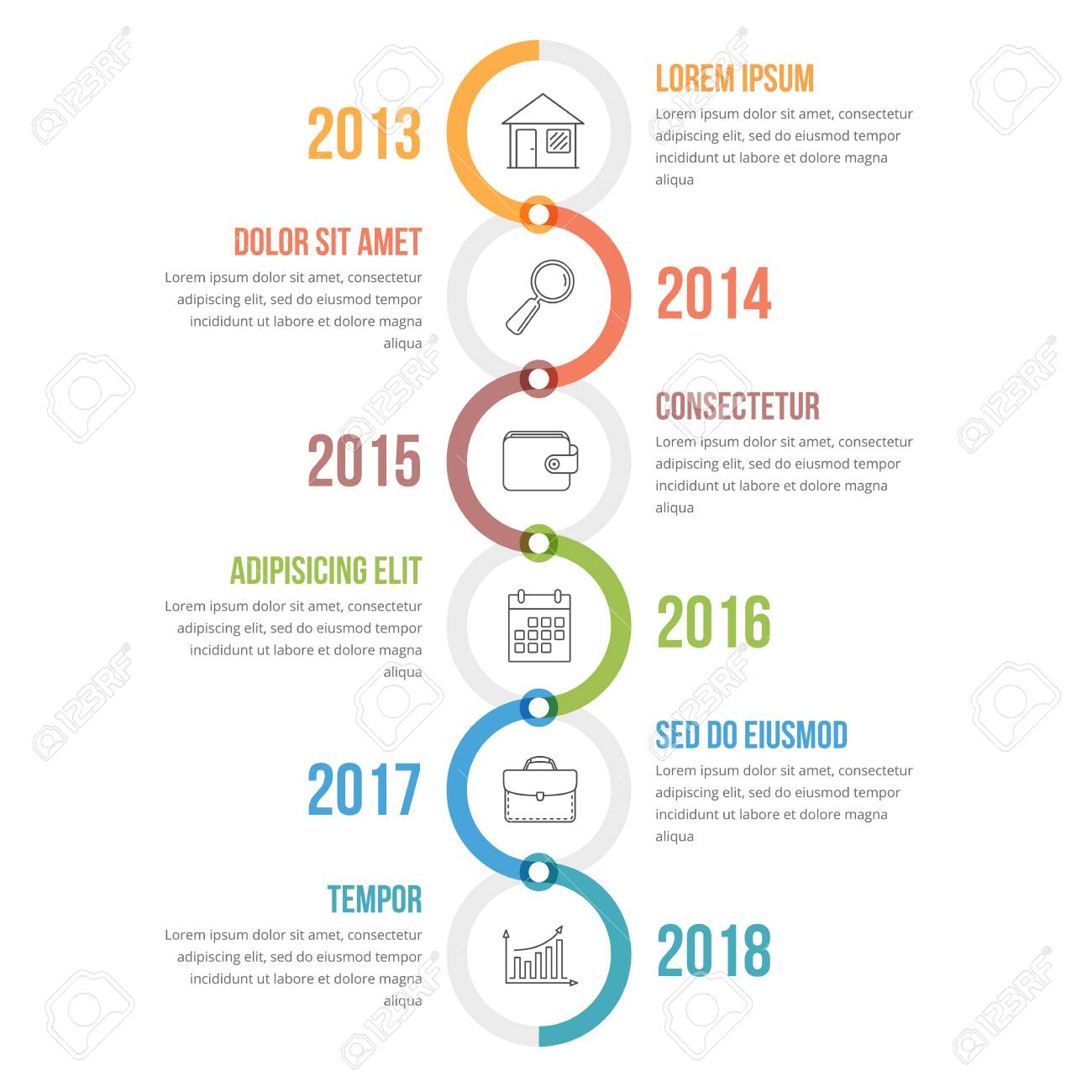 vertical timeline infographics template with colorful circles