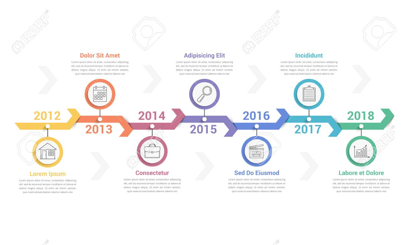 Timeline Info Graphics Template With Arrows Workflow Or Process