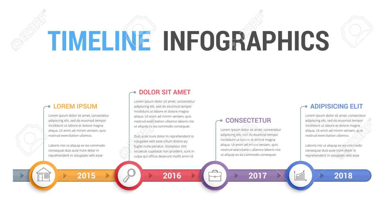 timeline info graphics template design workflow or process diagram