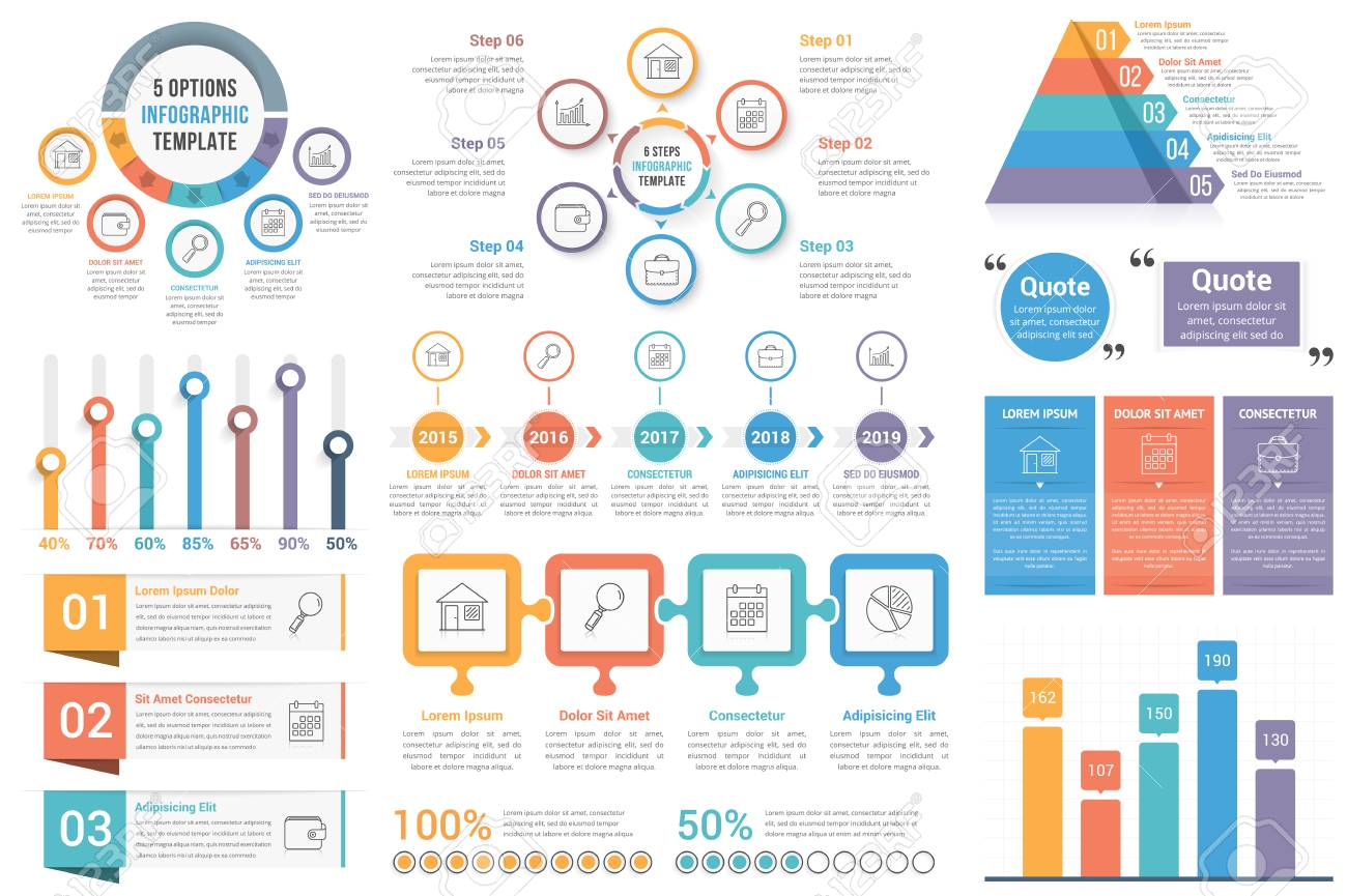 infographic elements circle diagrams timeline bar graphs