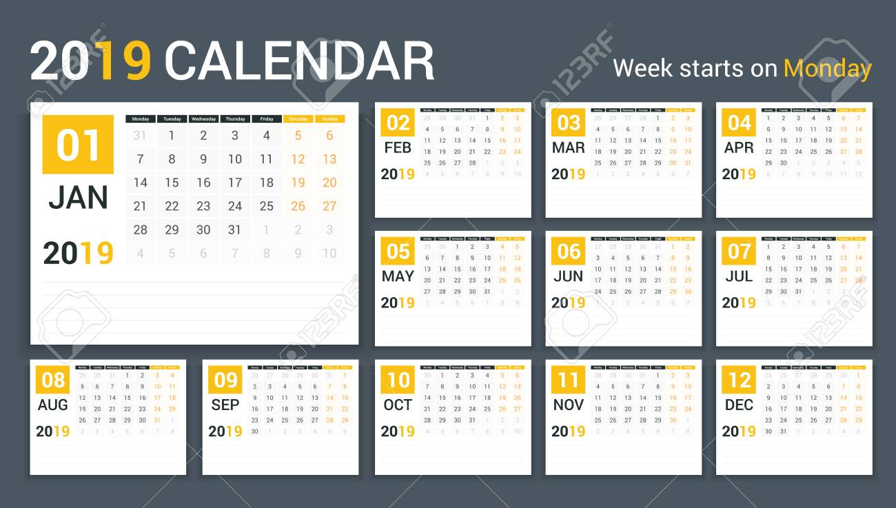 photograph relating to Calendar Template for Pages called 2019 Calendar template, planner, 12 webpages, 7 days commences upon Monday,..