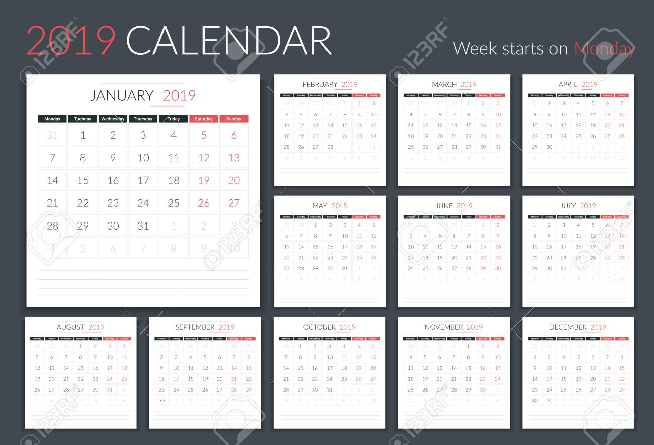 photograph relating to Calendar Template for Pages titled 2019 Calendar template, 12 webpages, 7 days starts off upon Monday, vector..