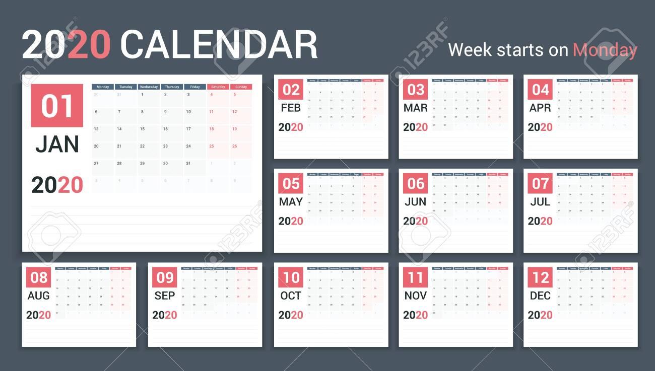 2020 Calendar-planner template, planner, 12 pages, week starts on Monday, vector eps10 illustration - 133151133