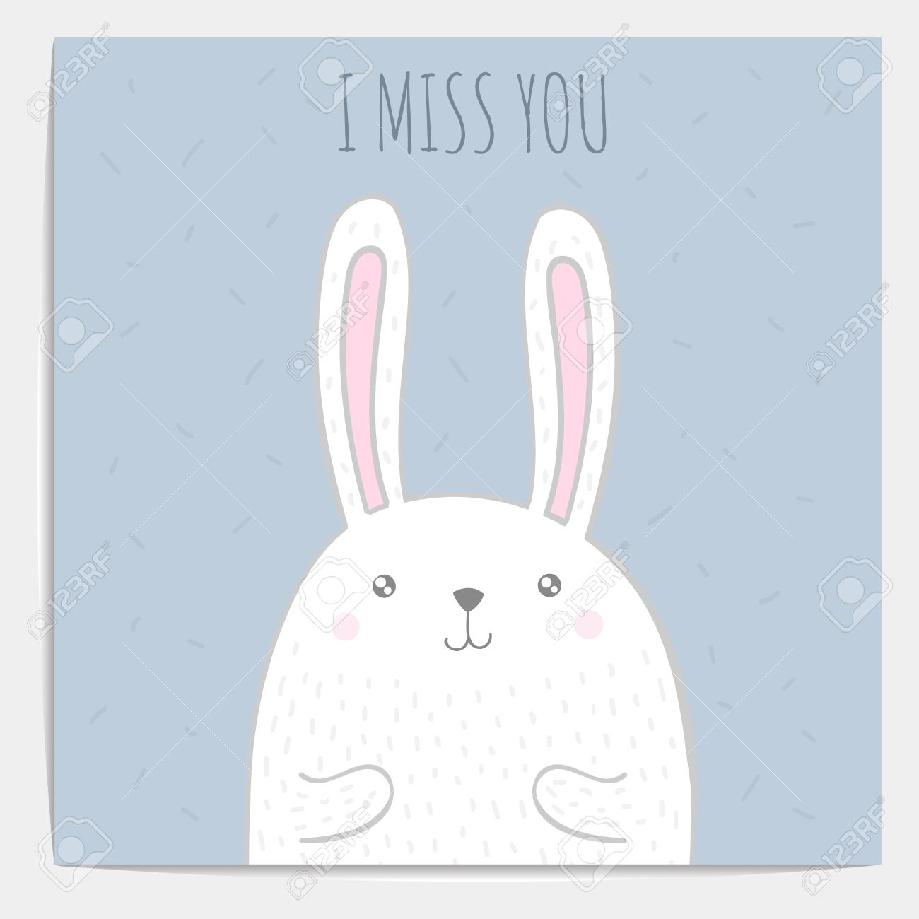 Inspirational romantic and love quote card. Cute hand drawn bunny..
