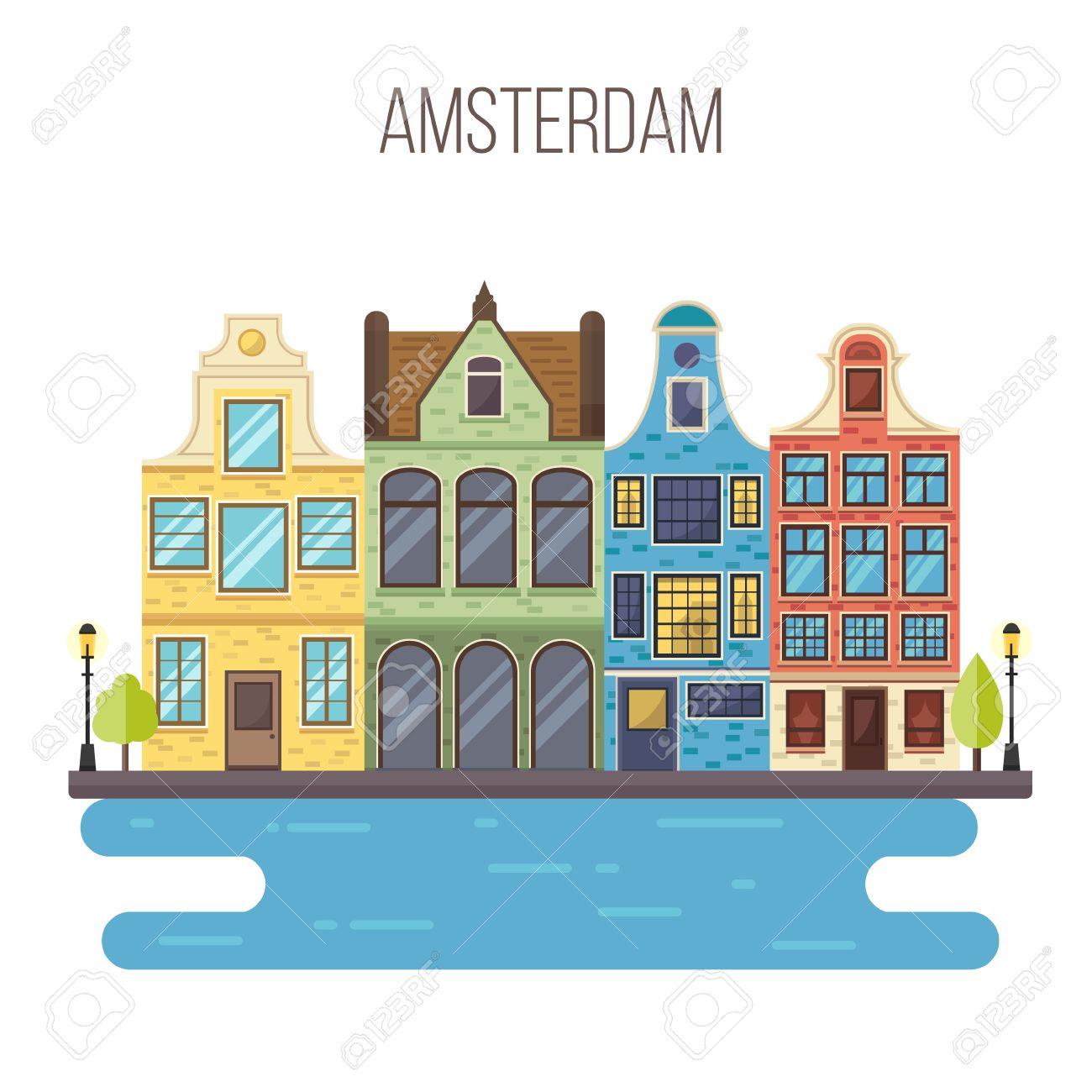 アムステルダムの街並みのベクター イラストです伝統的なオランダの