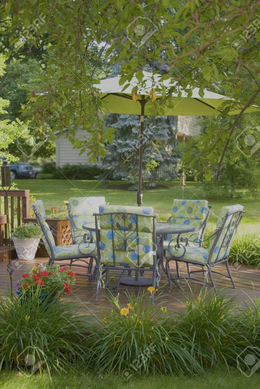 Ein Holzdeck Und Stühlen Im Frühjahr Von Einem Baum Eingerahmt ...