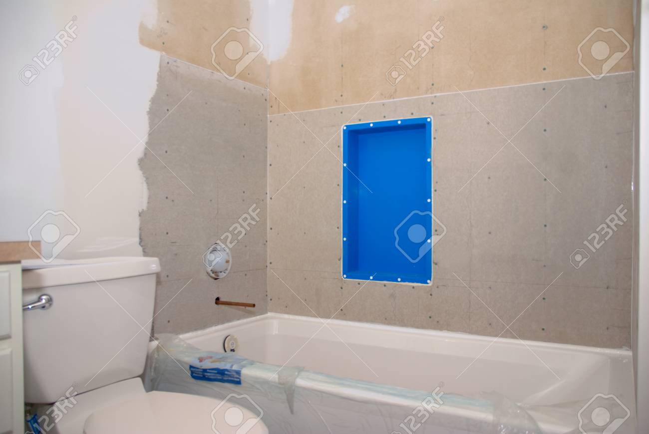 A Bathroom Remodeling Project Ready For Tile To Be Put Around ...