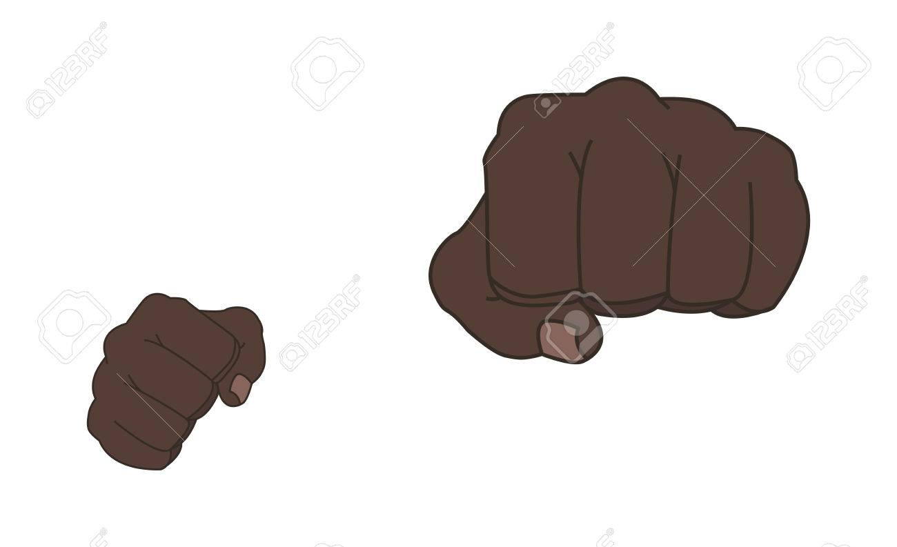 808df2253 Color illustration isolated on white. Clenched african american man fists  in fight stance. Ready to fight. Front punch.