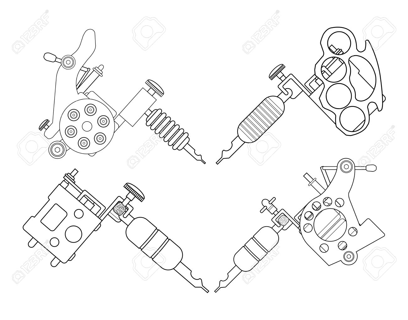 set of 4 different style realistic tattoo machines icons revolver Tables Clip Art Black and White Card line art illustration isolated on white set of 4 different style realistic tattoo machines icons revolver tattoo machine knuckle duster