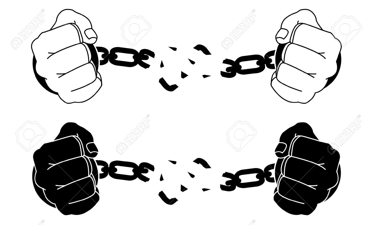 Male hands breaking steel handcuffs. Black and white vector illustration isolated on white - 35687733