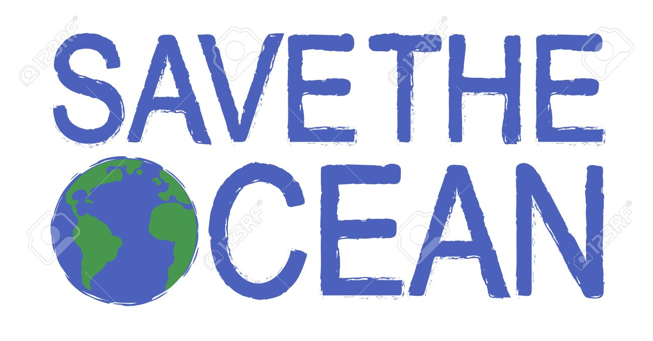 Save The Ocean Scratch Grunge Graffiti Print Sign With Planet ...
