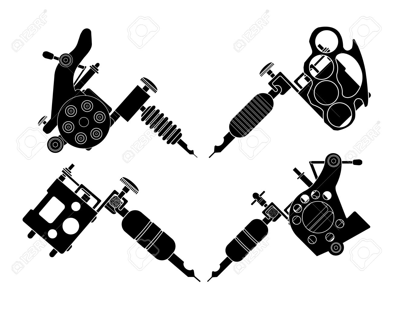set of 4 different style realistic tattoo machines icons revolver rh 123rf com tattoo machine vector free download tattoo machine vector free