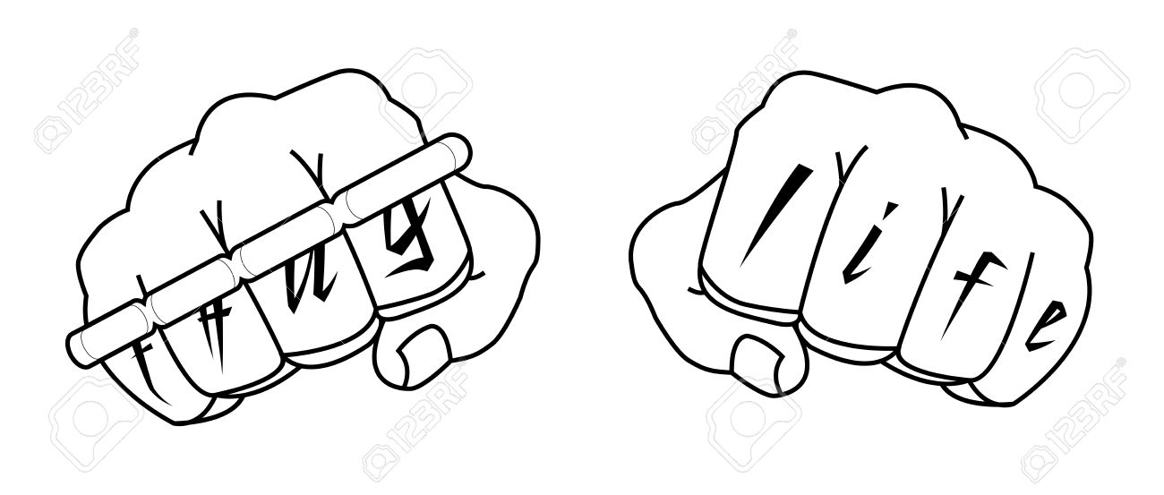6def2da39 Clenched man fists with Thug life tattoo holding brass knuckles. Black and  white illustration isolated