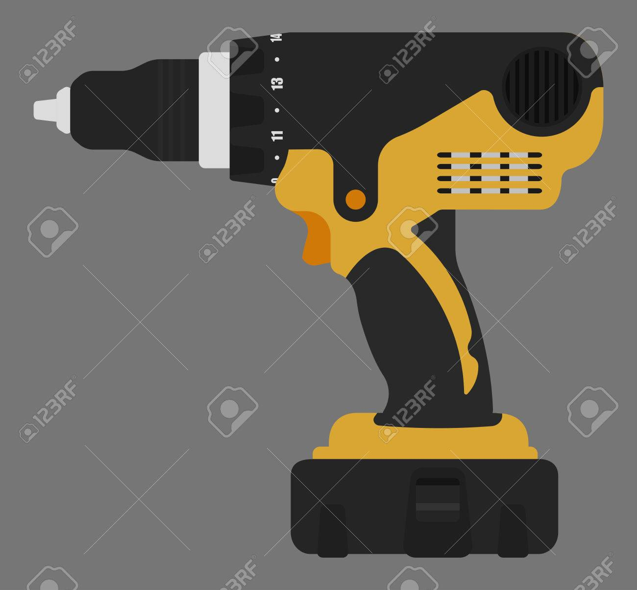 Electric Cordless Hand Drill Icon In Black And Yellow Colors ...