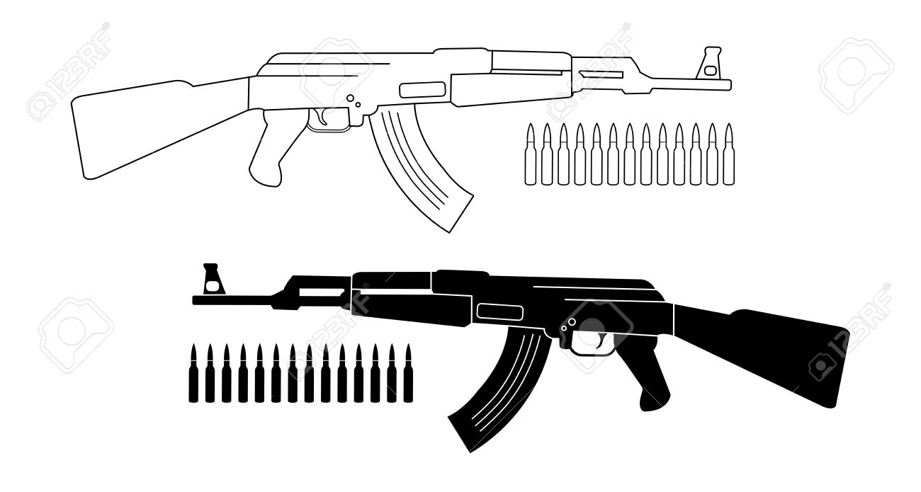 Assault Rifle With Bullets. Game Resources. Vector Contour Lines ...