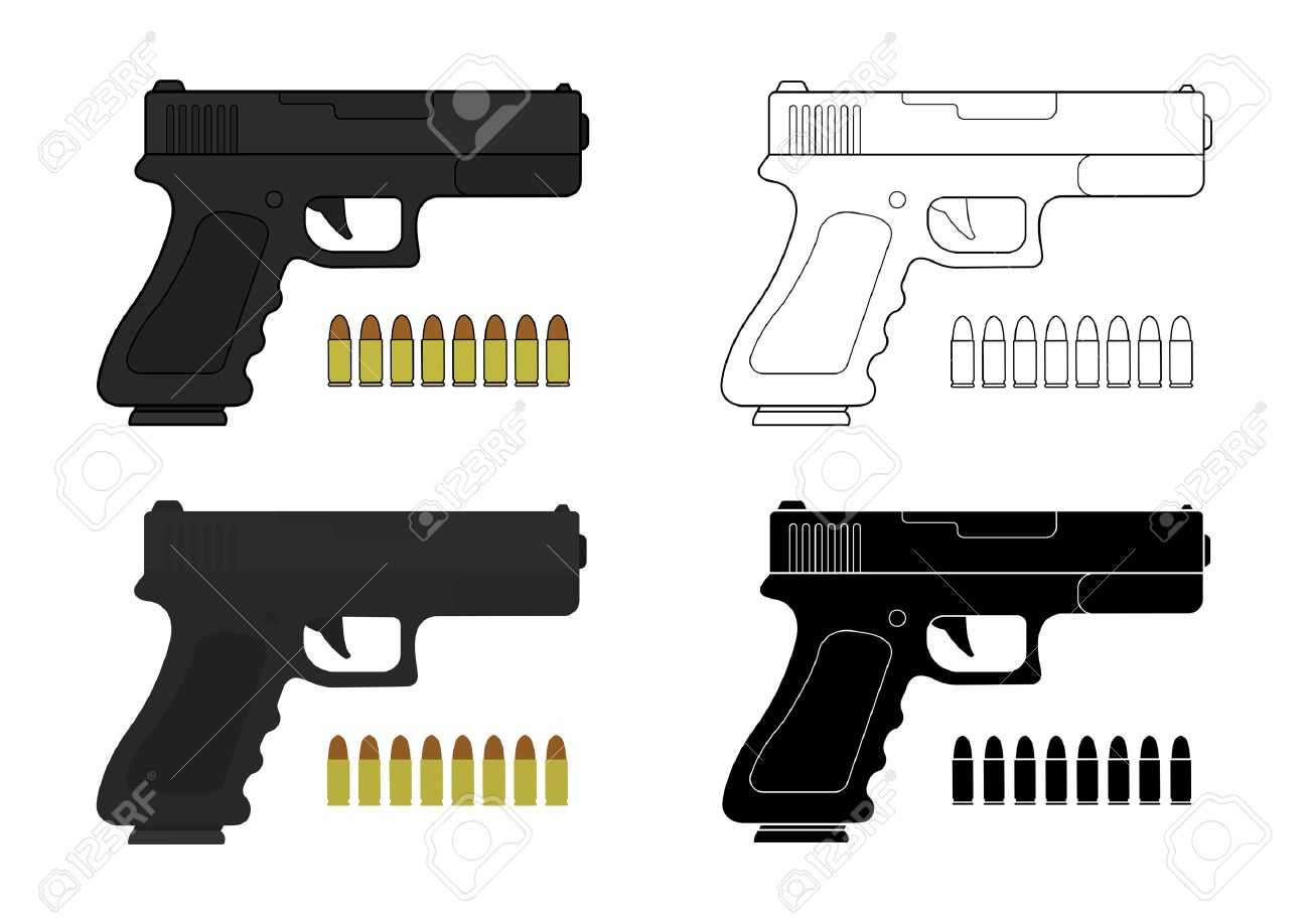 9 mm pistol and bullets. Color, contour, silhouette. Vector clip art illustrations isolated on white - 40291703