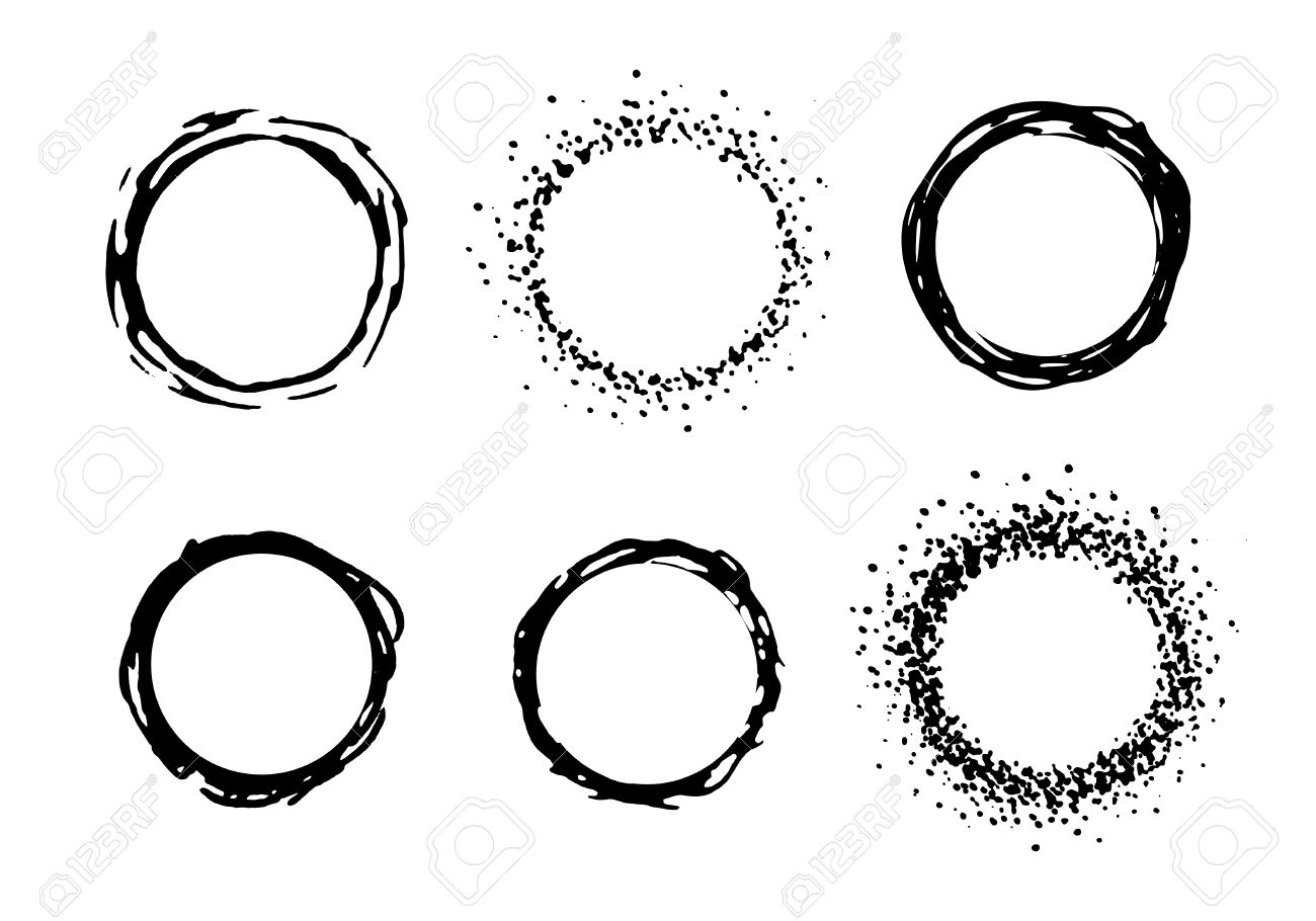 Vector Paint Circle Frames. Black Ink Clip Art Illustration Isolated ...