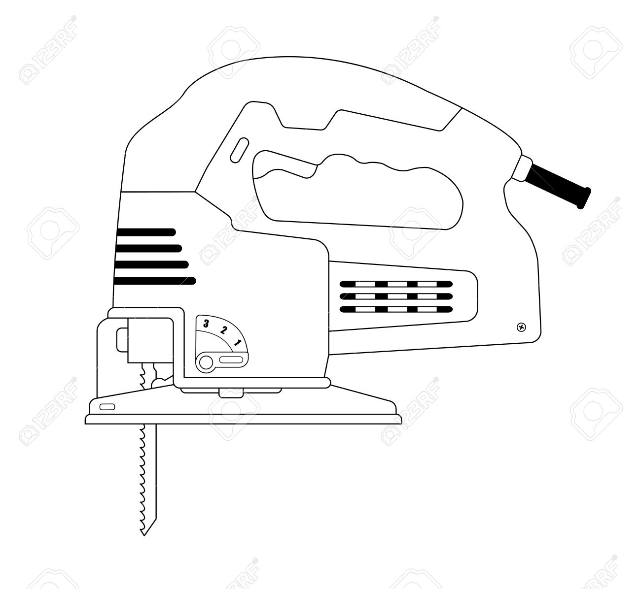 Electric Carpentry Jig Saw Tool. Vector Clip Art Contour Lines ...