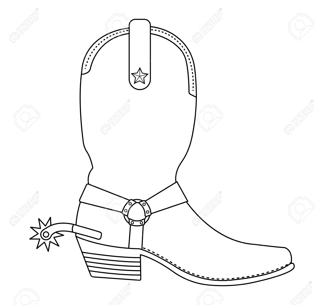 Wild West Cowboy Boot With Spur And Star. Contour Lines Vector ...