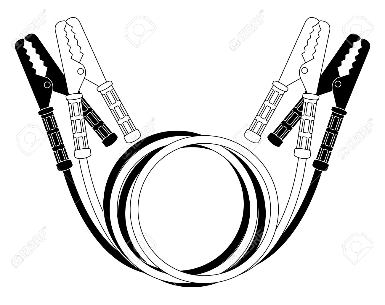 Car Jumper Power Cables. Black And White Wire Clamps. Vector ...