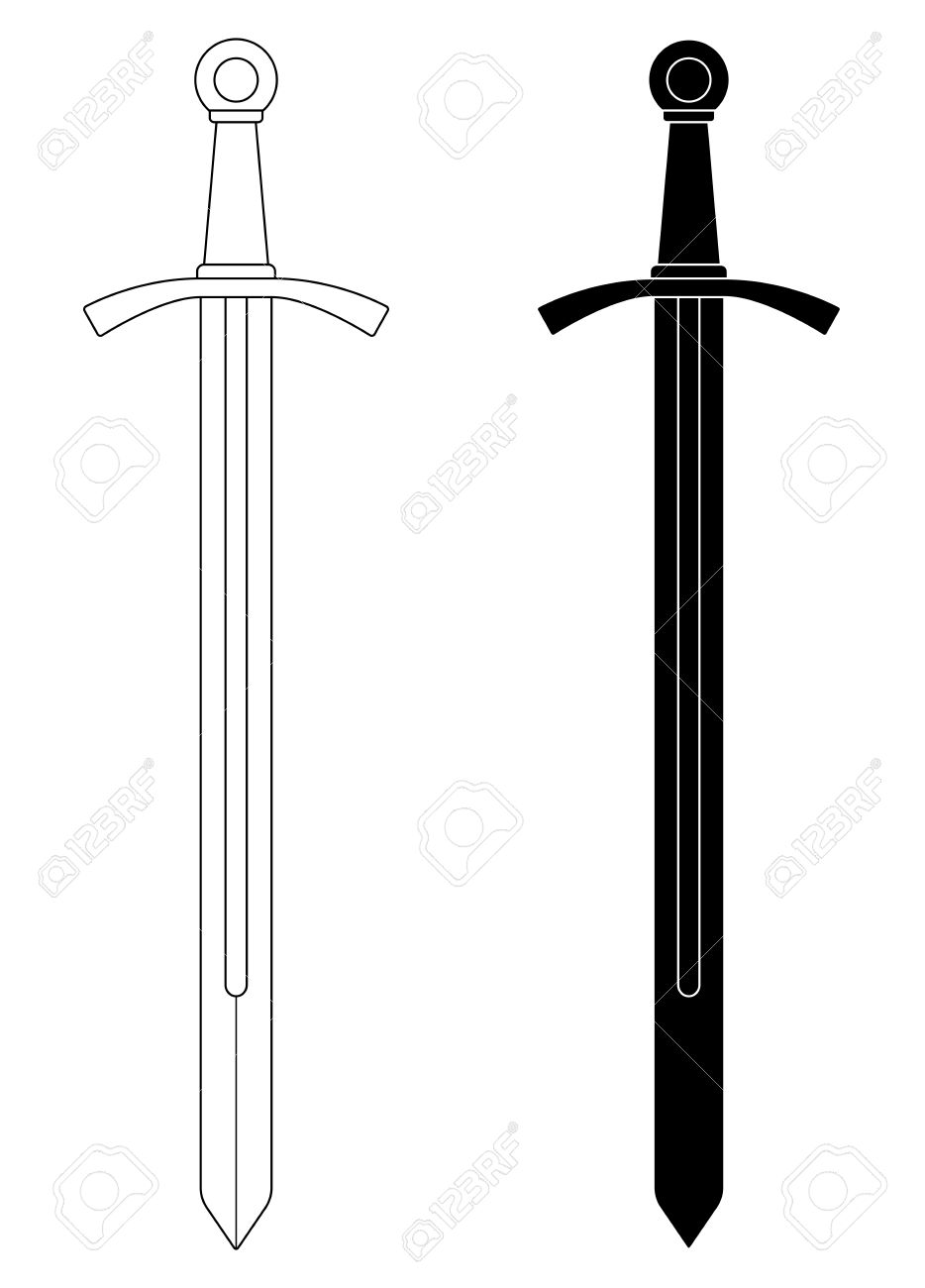 one handed medieval knight vector sword clip art illustration rh 123rf com sword vector free download sword vector free download