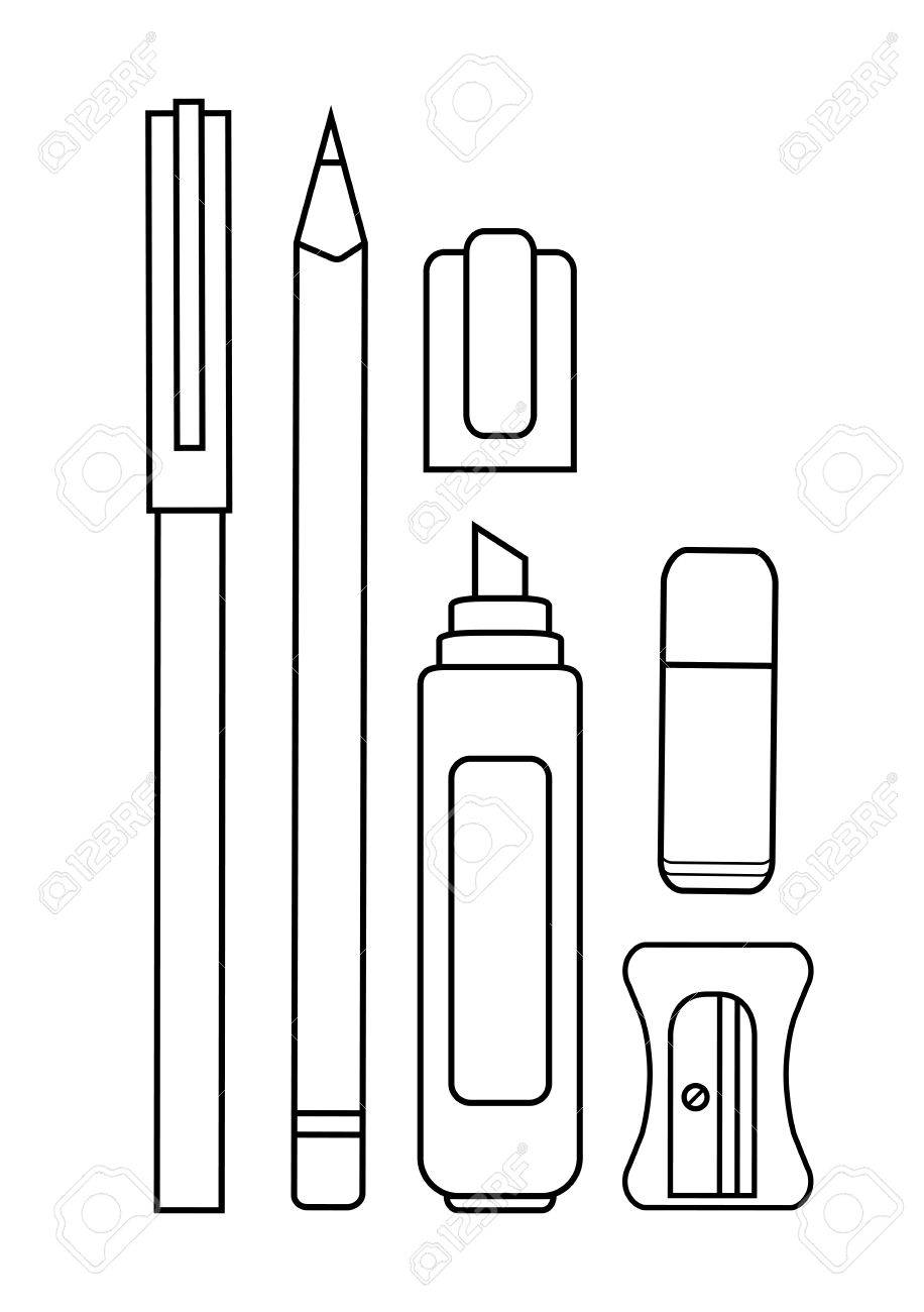 stationery writing tools set pen pencil yellow marker eraser royalty free cliparts vectors and stock illustration image 40292878 stationery writing tools set pen pencil yellow marker eraser