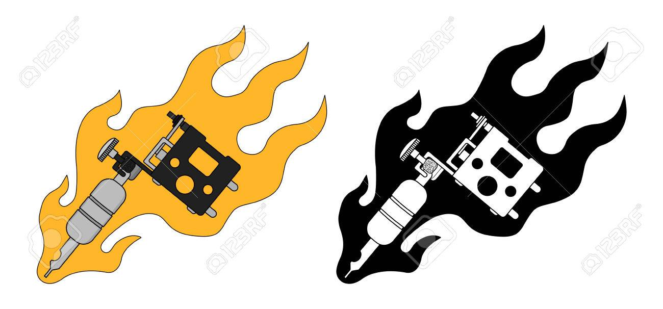 classic tattoo machine in flame color black and white vector rh 123rf com