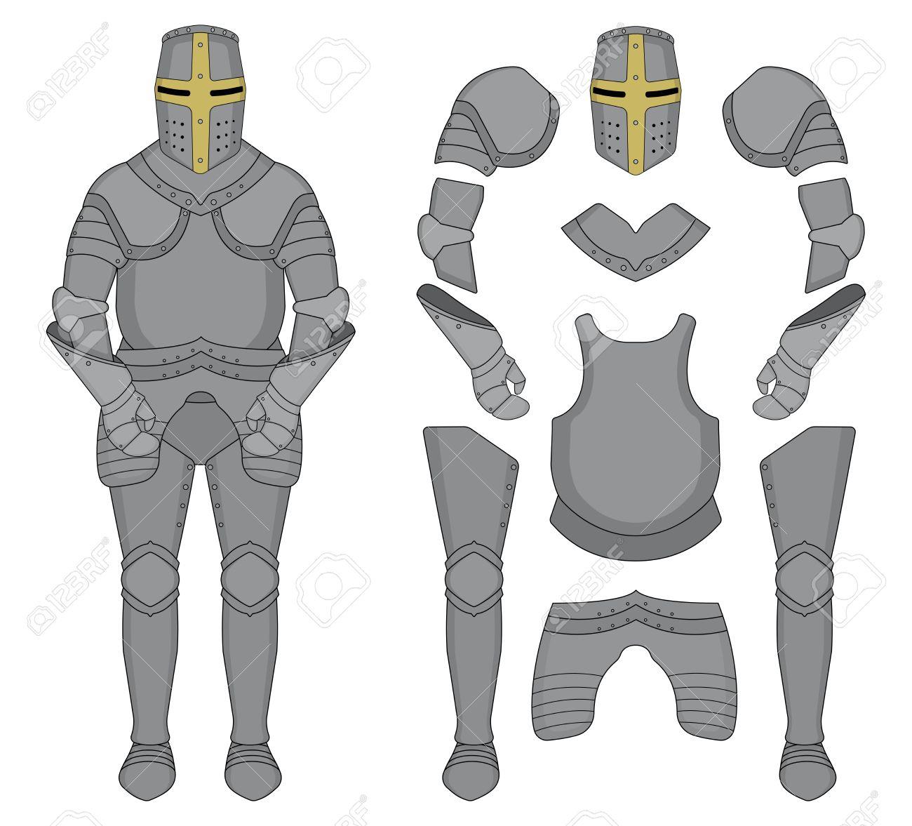 Medieval templar knight armor set. Helmet, shoulders, gloves, breastplate, leggings. Color clip art vector illustration isolated on white - 40557278