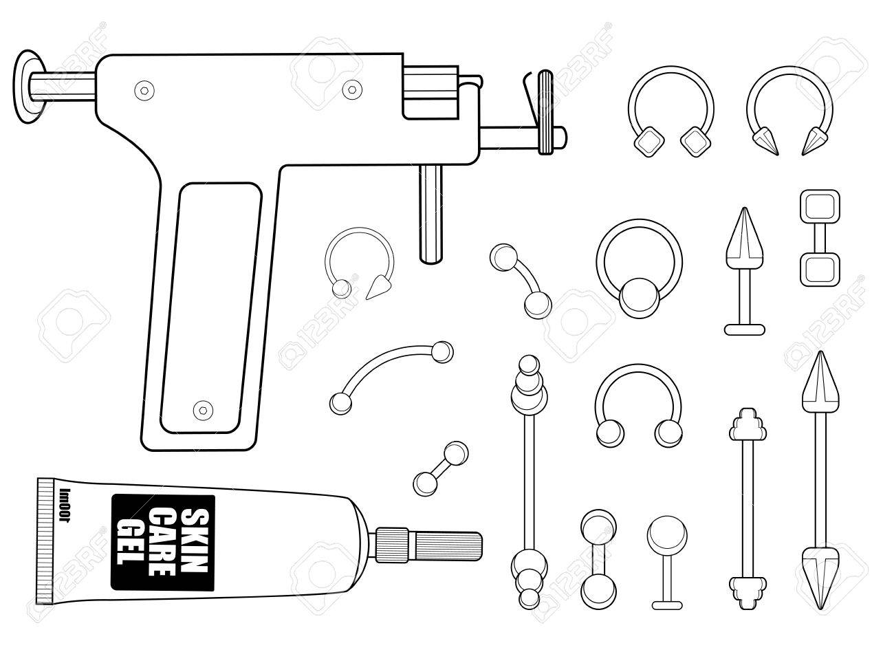 Set of professional body piercing instruments piercing gun skin set of professional body piercing instruments piercing gun skin care cream piercings collection pooptronica Choice Image