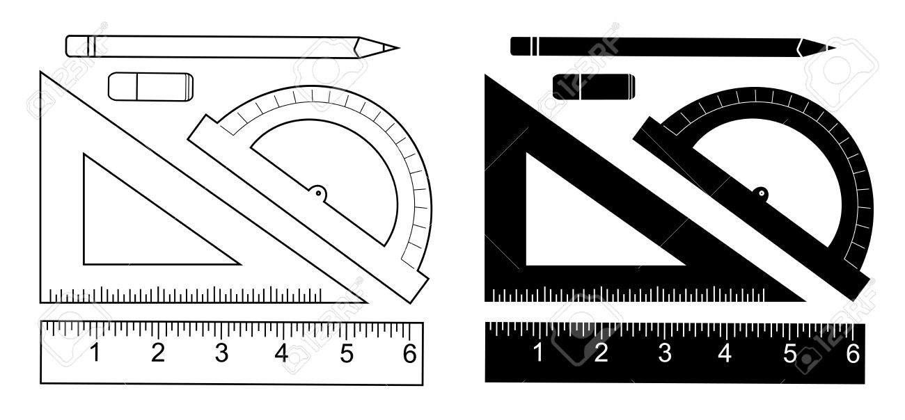 eraser clipart black and white. pencil, eraser, protractor, triangle ruler, liner ruler. vector eraser clipart black and white