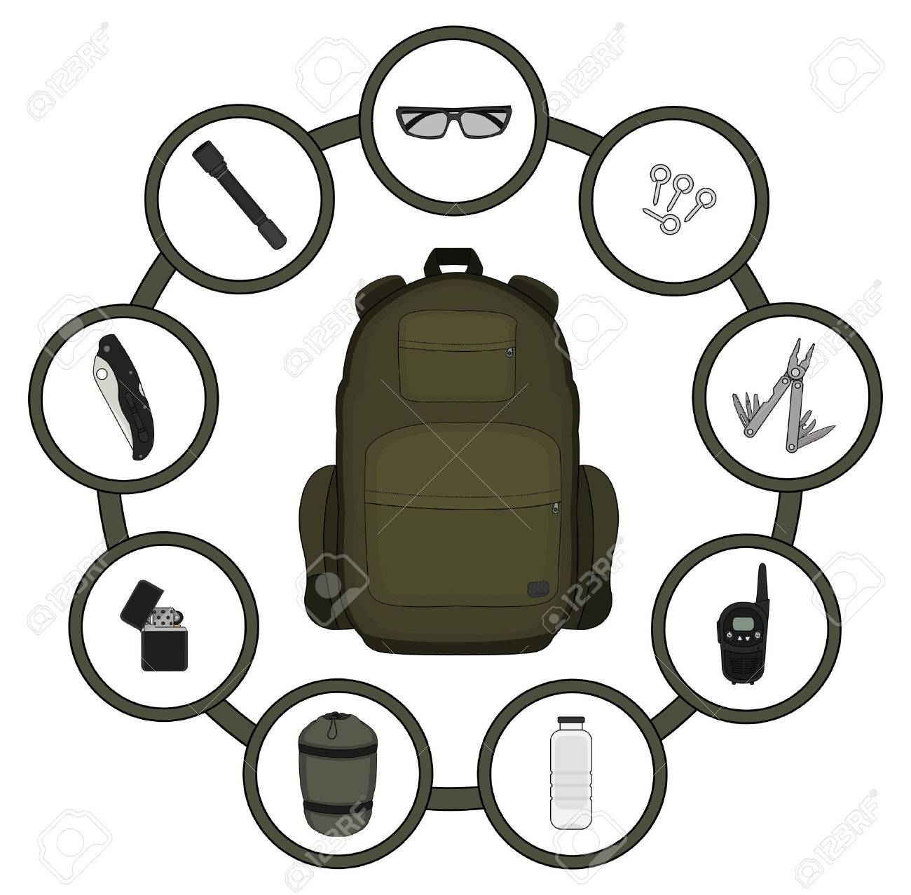 Traveler backpack contents. Tourism objects in round frame. Vector clip art illustrations isolated on white - 41295612