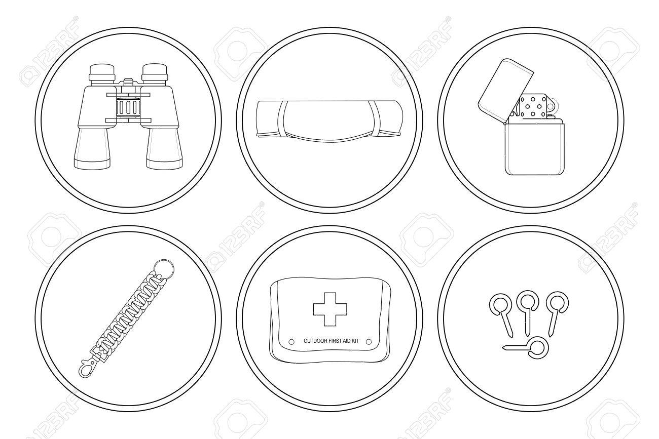C&ing icons set. Binoculars tourist mat petrol lighter paracord bracelet first  sc 1 st  123RF Stock Photos & Camping Icons Set. Binoculars Tourist Mat Petrol Lighter ...