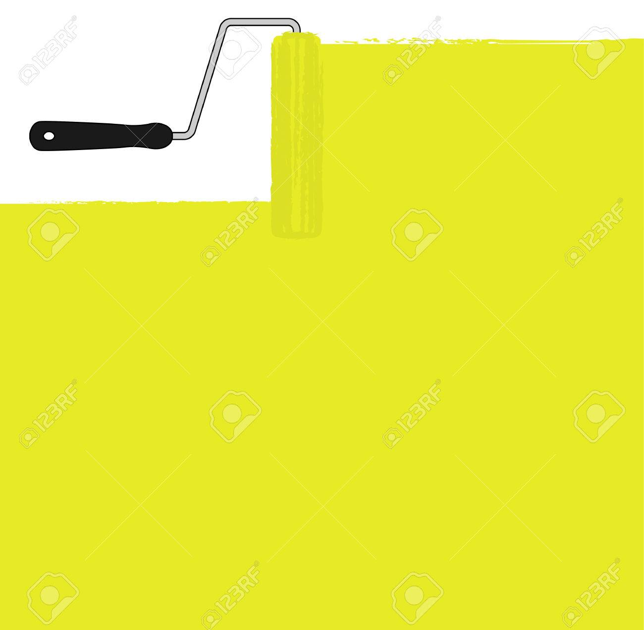 Yellow Paint Roller Painting The Wall. Vector Background Clip ...