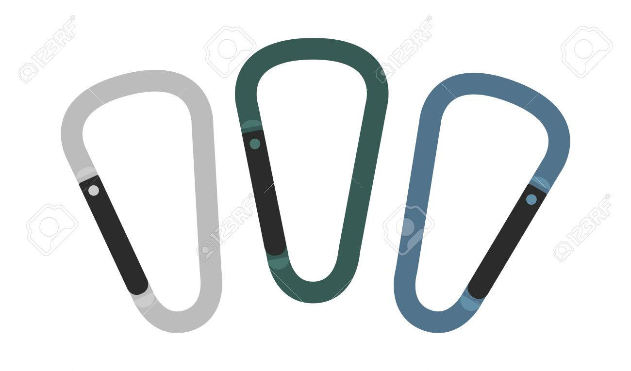 Set Of Carabiner Icons Silver Green Blue Hiking Equipment Royalty Free Cliparts Vectors And Stock Illustration Image 41301938