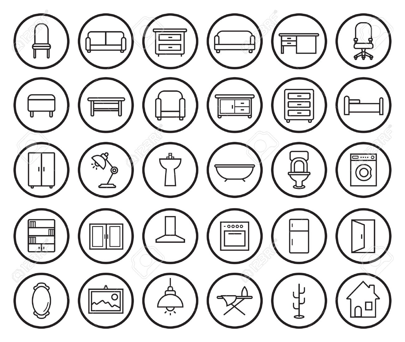 Furniture Clipart Black And White House Linear Icons Set Vector Clip Art Illustrations