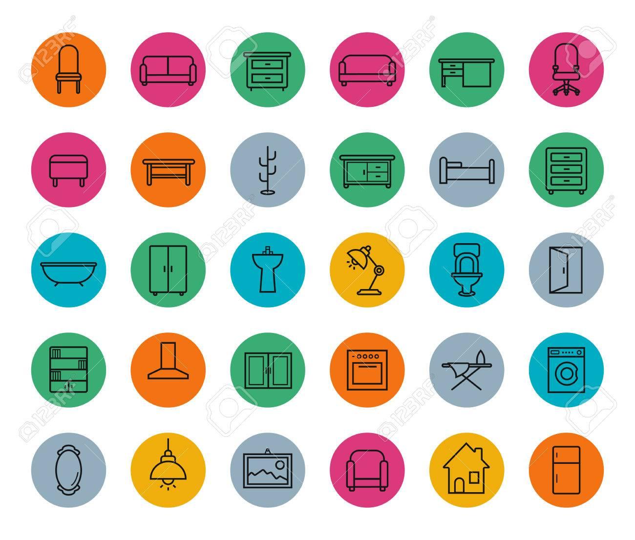 Muebles Casa Iconos Colorido Lineales Fijados. Línea Vectorial ...