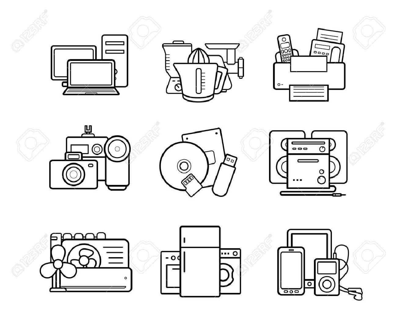 Household appliances line art icons set. Electronics online store. Vector - 44243237