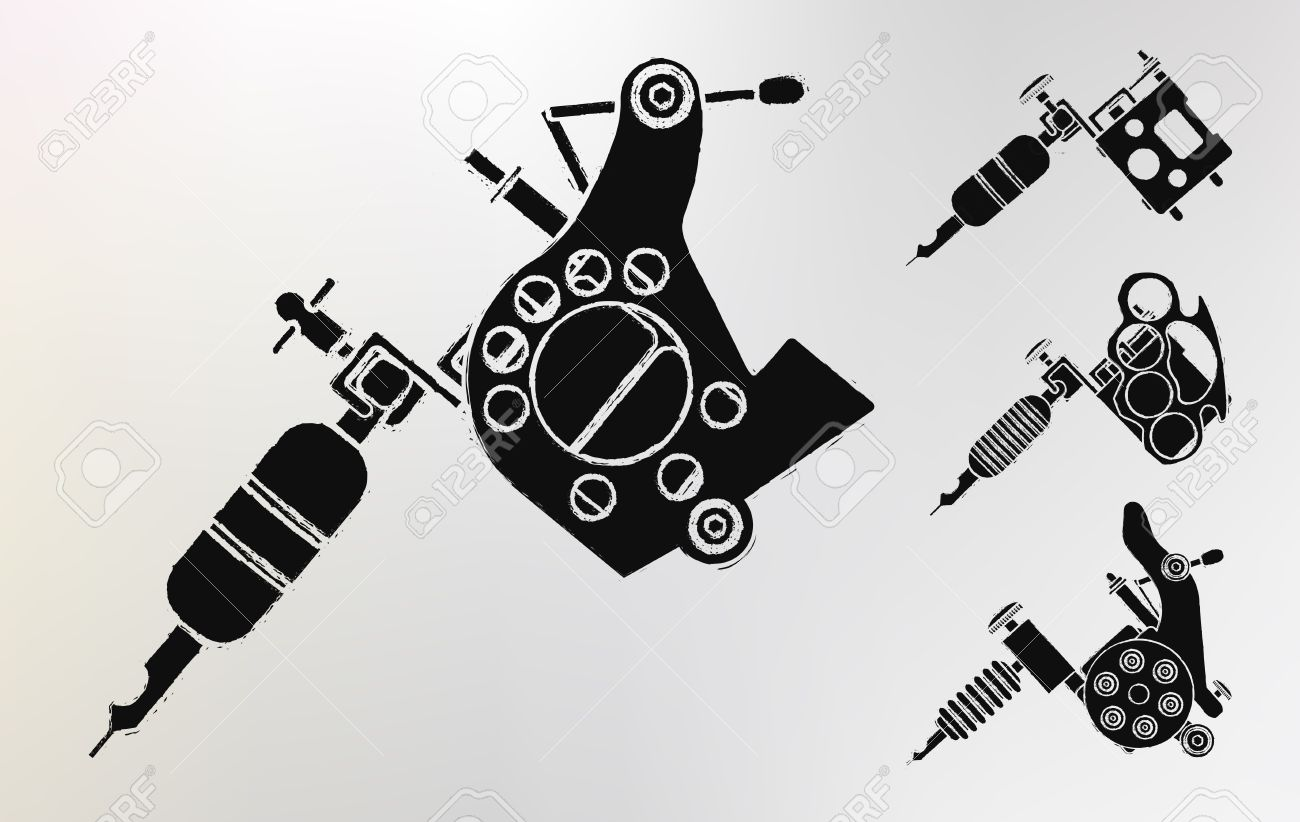 Grunge Tattoo Machines Prints Logo Set Vector Clip Art Royalty Free