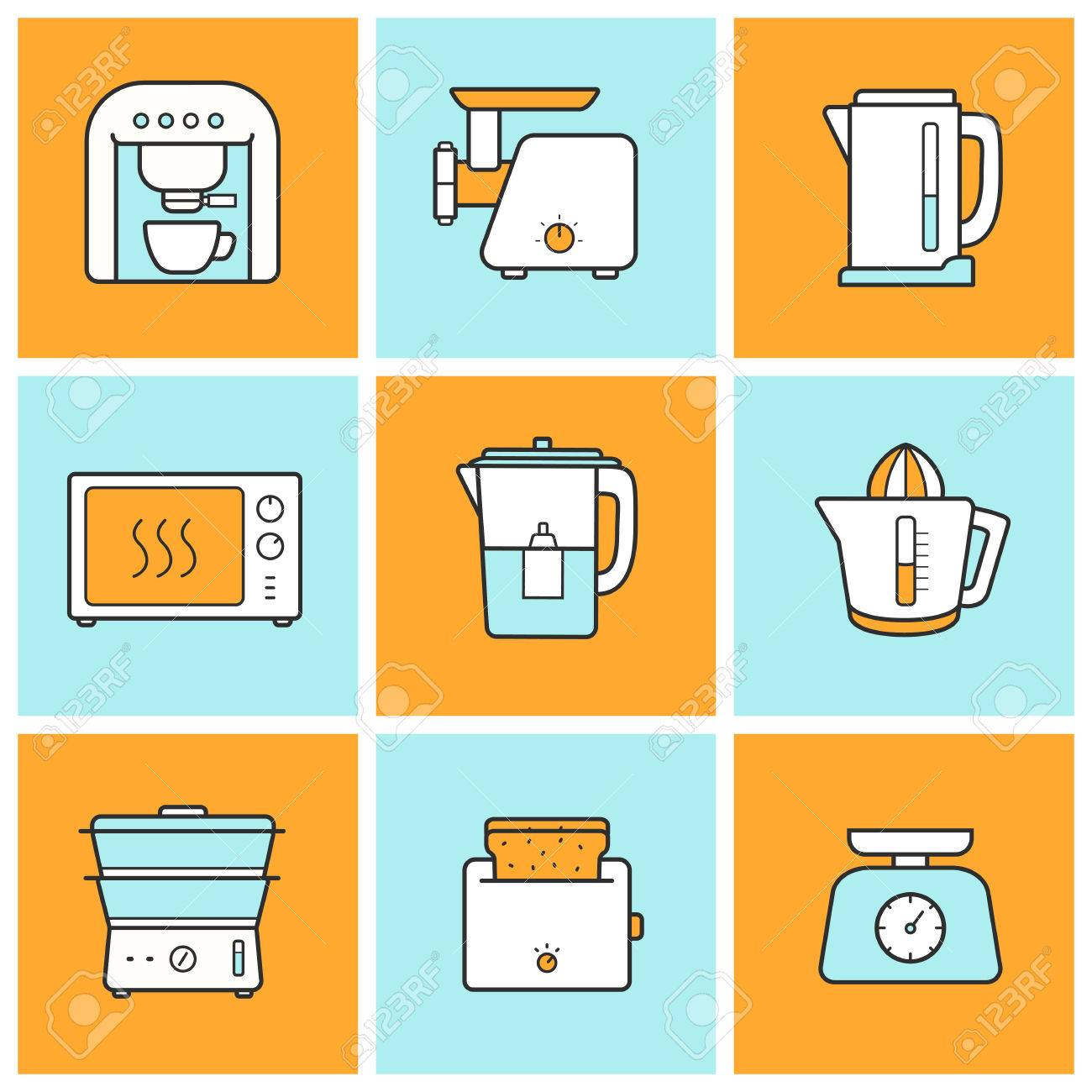 kitchenware flat design inforgraphic color icons set. modern