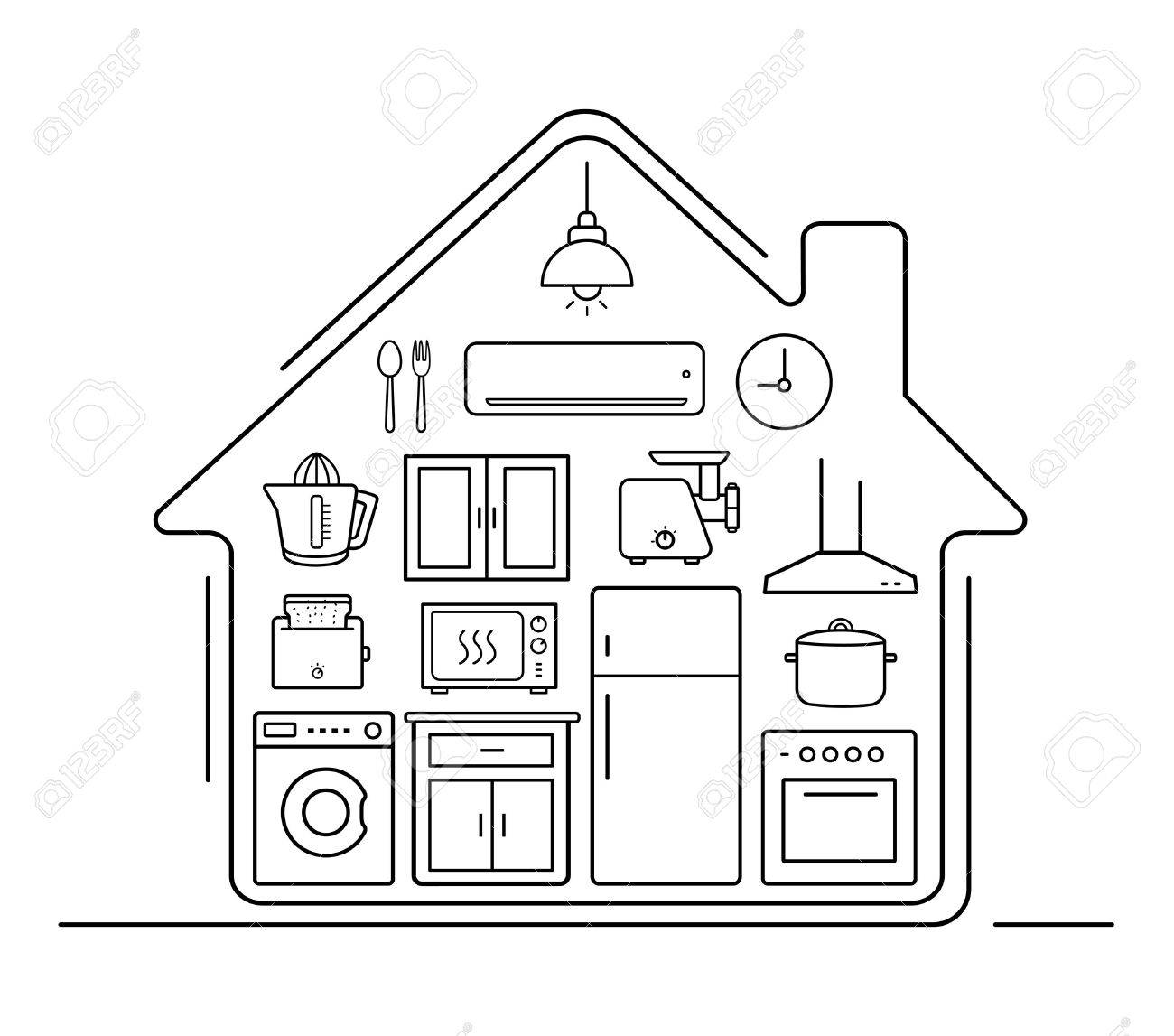 Modern kitchenware thin line icons . Kitchen interior with electronics and furniture illustration. Cooking appliances. Vector house outline drawing concept isolated on white - 45710234