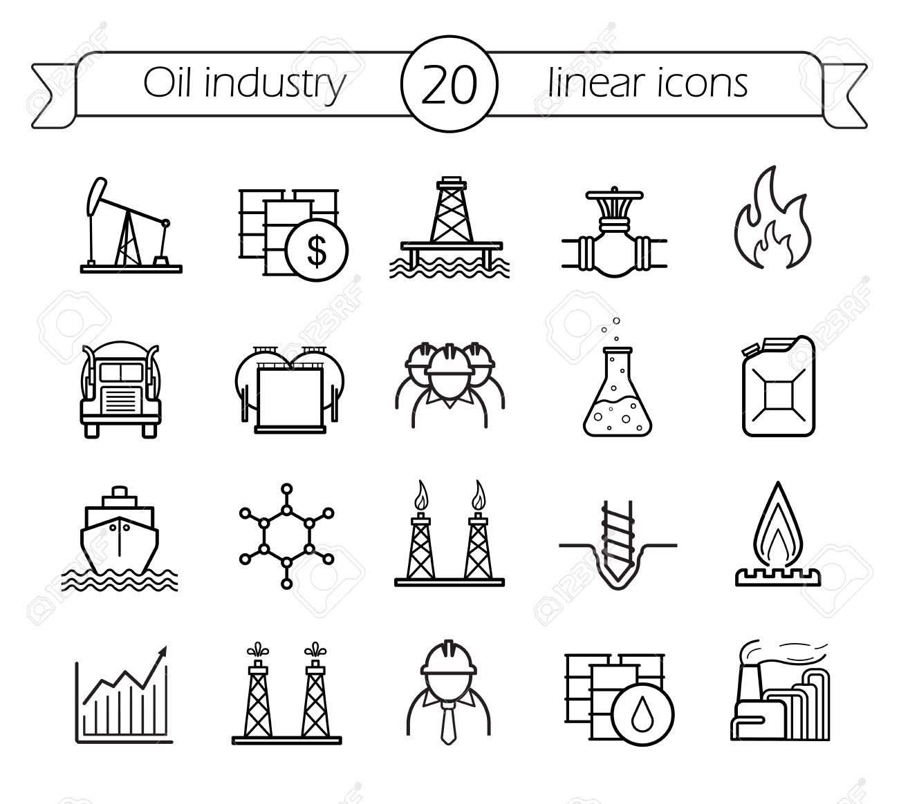 Oil industry linear icons set. Gas production, transportation, storage vector line art - 46997545
