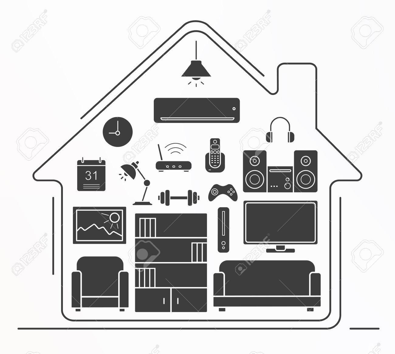 Living Room Interior Design Silhouette Icons Set House Furniture