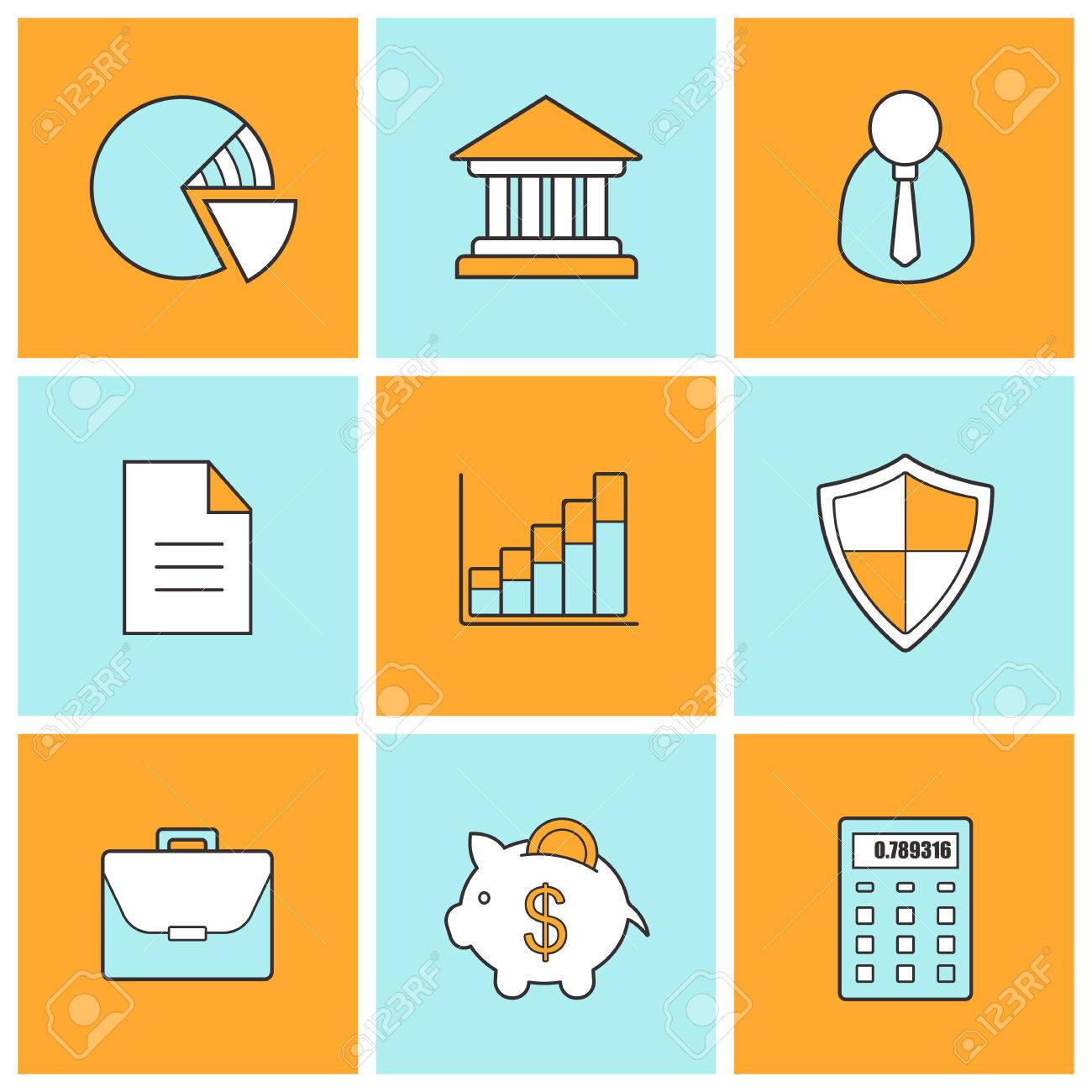 Bank Finance Linear Icons Set Stock Trading And Exchange Line