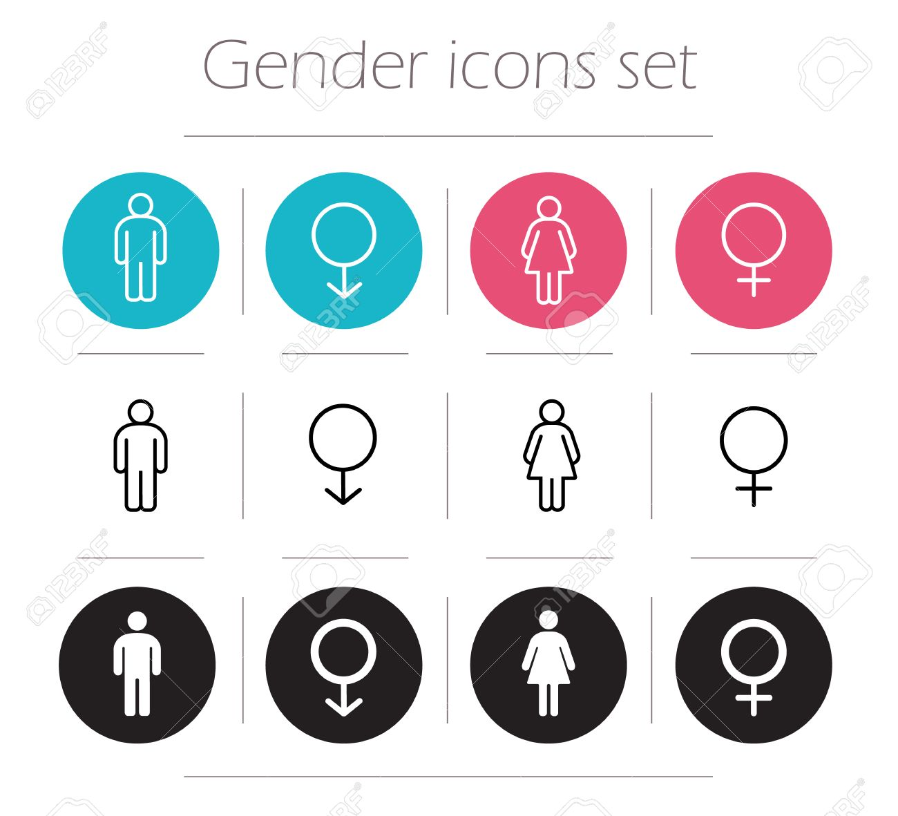 Gender icons set  Lady and gentleman restroom sign  Wc man and woman body  shape. Gender Icons Set  Lady And Gentleman Restroom Sign  Wc Man And