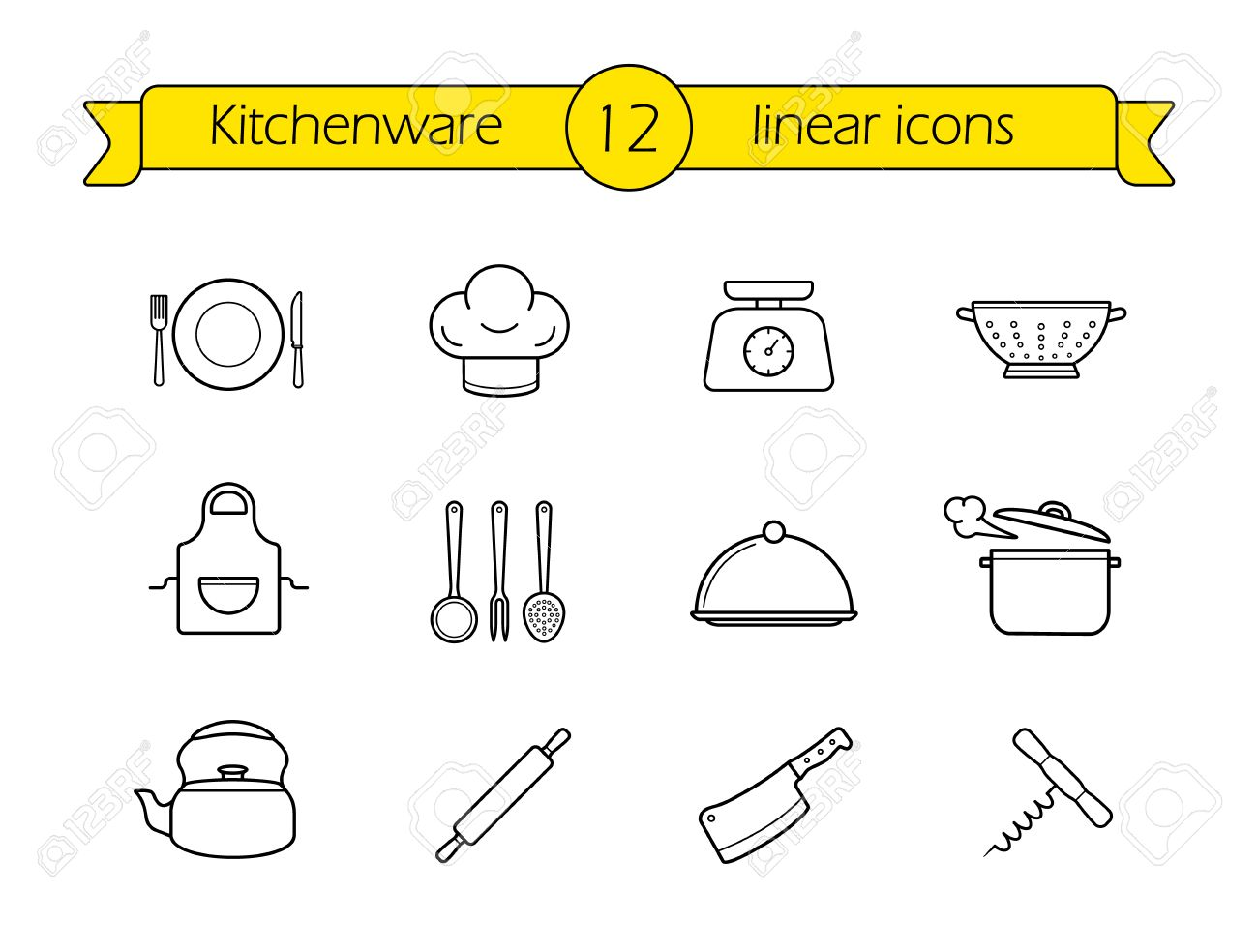Restaurant Kitchenware kitchenware line icons set. restaurant cooking utensils items