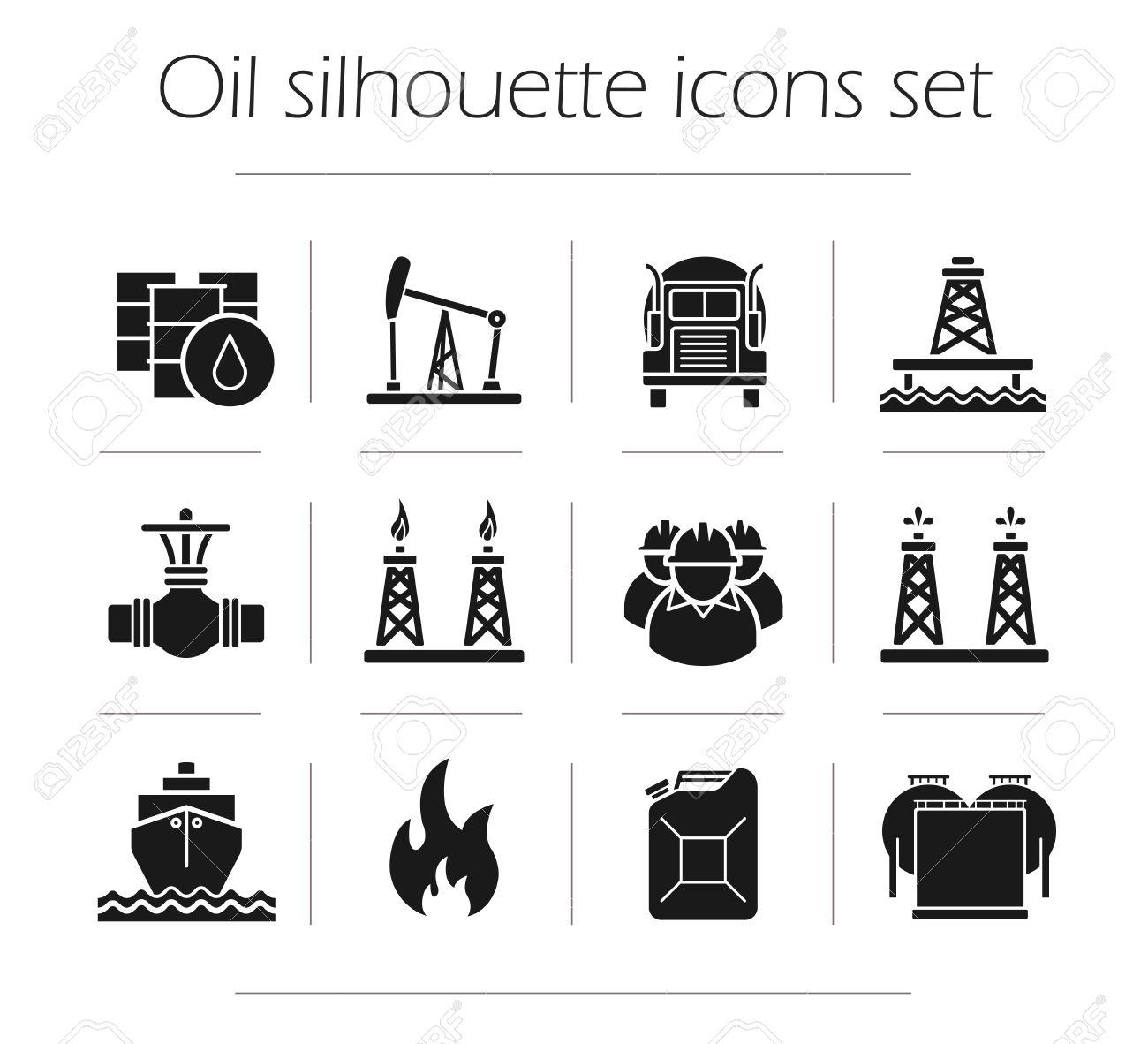 Oil production silhouette icons set petroleum industry gas oil production silhouette icons set petroleum industry gas production transportation storage vector biocorpaavc