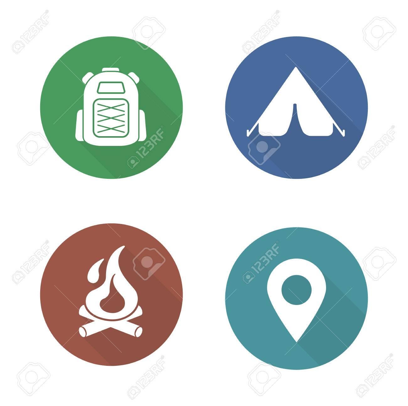 Camping flat design icons set boy scout travel backpack symbol camping flat design icons set boy scout travel backpack symbol outdoor tourism tent buycottarizona Images